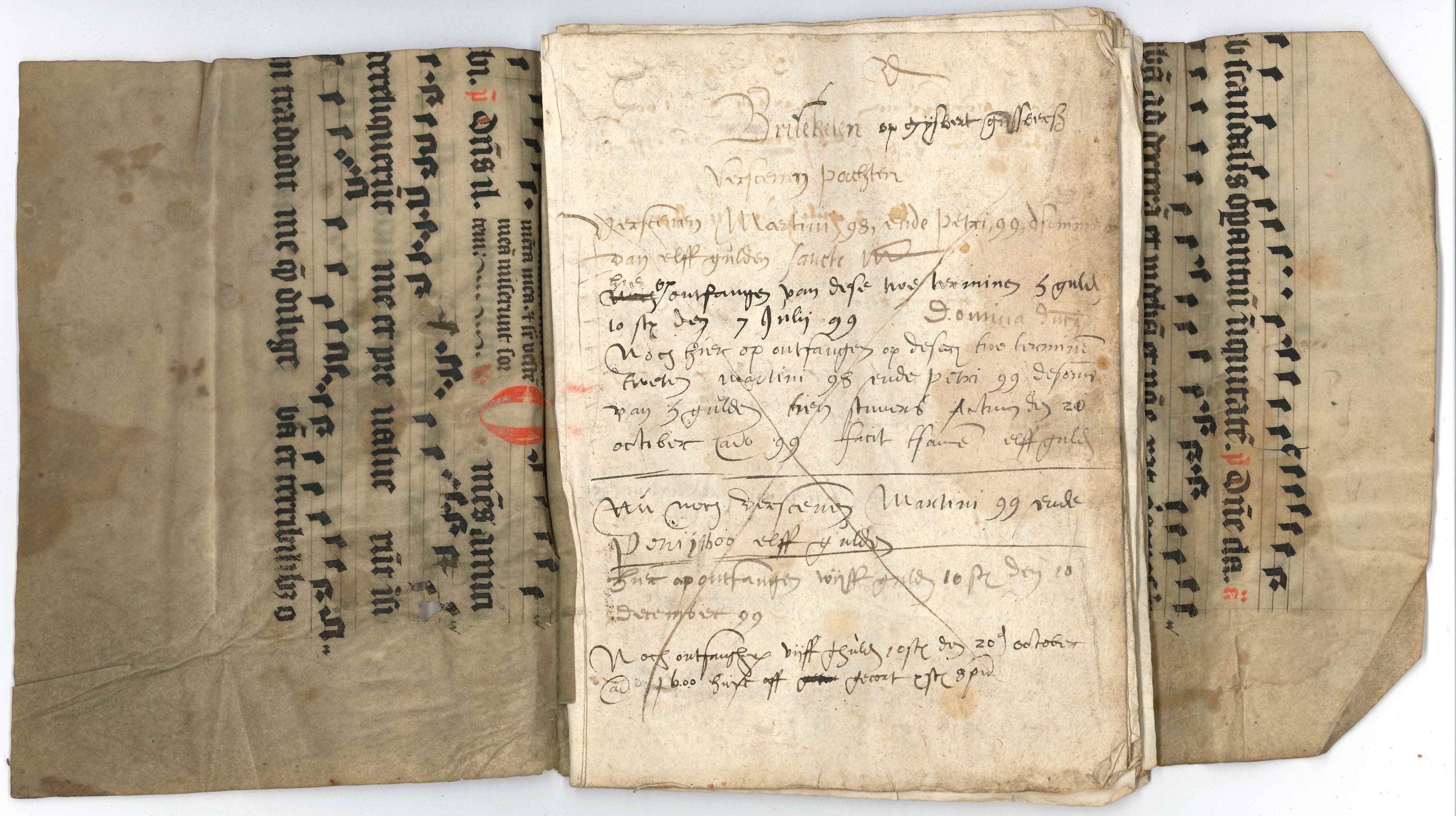 15e eeuws handschrift met maculatuur met lithurgische gezangen